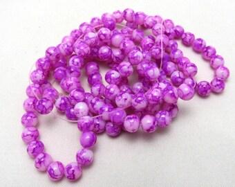 1 Strand 8mm Mottled Glass Round Beads Fuschia (B64b)