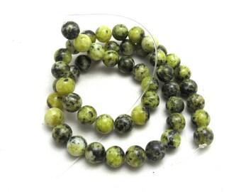 1 Strand 8mm Natural Yellow Turquoise Gemstone Beads Round (B85b9)