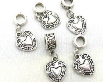 10 Antique Silver Double Heart Euro Dangle Charm Beads (B111d4)