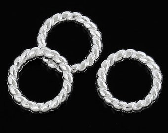 100 Silver Plated Twist Closed Jump Rings 10mm (B104)