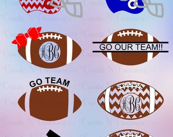 Football Monogram SVG. Cutting files for Silhouette cameo and Cricut design space. Chevron Football, cheveron helmet, monogram frames svg.