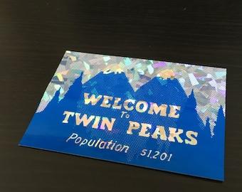 Holographic Shattered Glitter Vinyl Twin Peaks Sticker