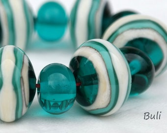 BuliBeads - Handmade Lampwork (5+12) Glass Beads Set - Ocean Beads  - Ivory - Turquoise - Free Shipping