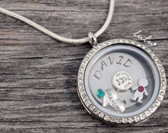 Personalized Grandma and my little boy/girl Round Locket Necklace - Hand Stamped Stainless Steel Jewelry - Memory Floating Locket Pendant