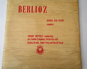 Vintage Vinyl Record, 'Berlioz' Romeo and Juliet, complete. Collectors Pierre Monteux, London Symphony Orchestra, Two Long Play Records