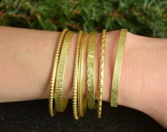 Hammered Cuff, Handmade Bracelets, Cuff Set of 7, Stacking Bangles, Hammered Bracelets, Textured Jewelry, Metal Bangle, WhiteMou