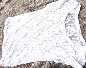 M- XL White Lace Cap Sleeve T