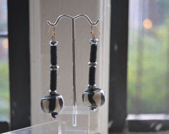 Traditional Black/White Zebra Beaded Earrings