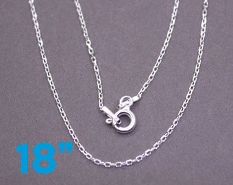 "18"" Sterling Silver Chain Necklace 1 MM Small Cable Stamped .925 Finished With A Lobster Clasp"