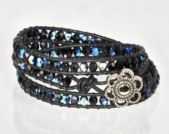 Black Wrap Leather Bracelet,  Black Wrap Bracelet, Chan Luu Bracelet, Black Beaded Bracelet, Double Wrap Bracelet