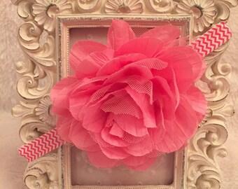 Pink chevron flower headband