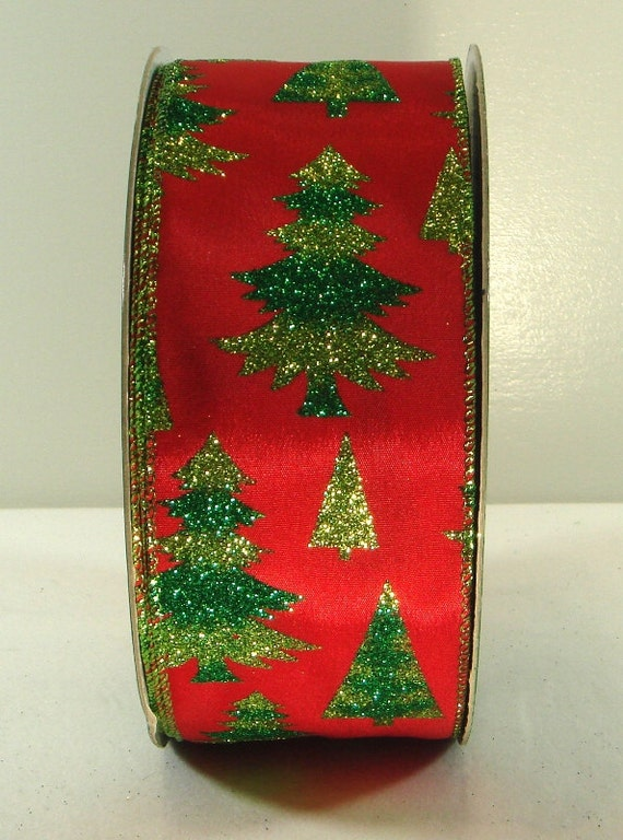 Christmas Tree Decorating With Wire Ribbon : Inch wired ribbon red satin with tone