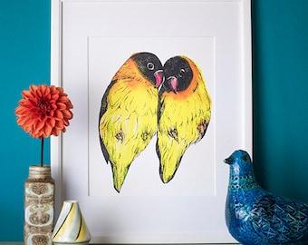 Lovebirds Watercolour Tropical Bird Print