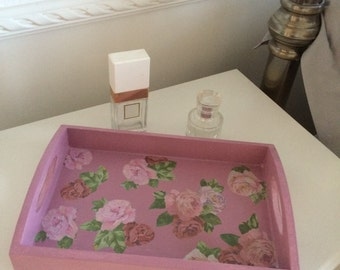 Pink wooden serving tray decorated with decoupage flowers