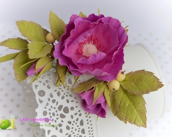 "Big brooch  ""Climbing roses"""