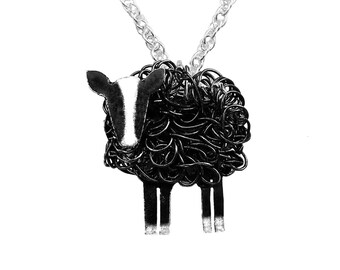 Handcrafted oxidised silver Zwartbles sheep pendant necklace
