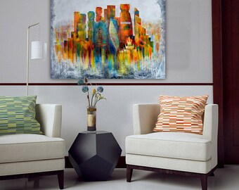 Large  Art, Abstract painting,  Large Wall Art, Large Wall Decor, Home Decor, Original Painting, Urban Art, Moscow