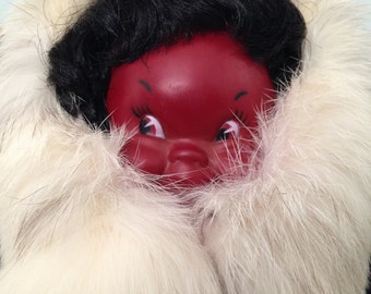 """Eskimo doll 12"""" tall handcrafted"""