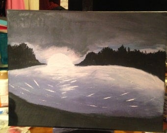 My first ever painting. Foggy night.