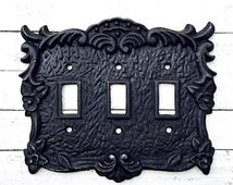 Triple Wall Receptacle Switch Plate Cover 50+ Custom Colors, Lighting Decor,Shabby Chic, Rustic,Cast Iron Decor, Victorian Home,Home