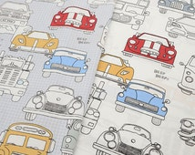Antique Car Pattern 100% Cotton Twill Fabric Materials for Quilt Cover/ Bedsheet/ Blanket Handmade Sewing (JJ339)