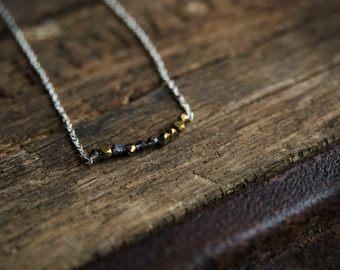 Simple Gold/Black Beaded Bar Necklace