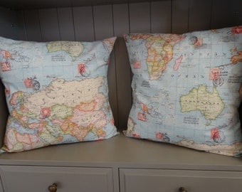 World Map Cushion/Pillow 50cmx50cm