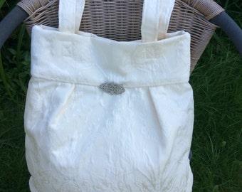 Cream Brocade Shoulder Bag
