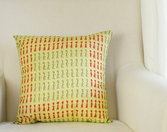 Vintage Vera Silk Scarf Throw Pillow - Women with Hats Graphic Print