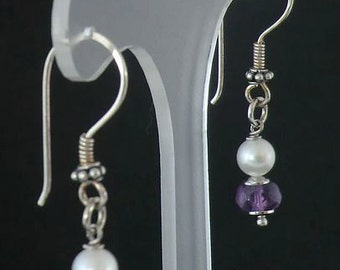 natural amethyst and Pearl Earrings DEWA