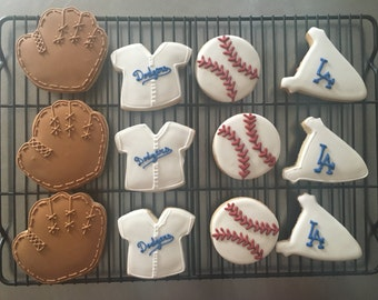 LA Dodgers Baseball Sugar Cookies.  Makes great gift for LA Dodgers fan, or for baseball theme party. Order is for one dozen (12) cookies
