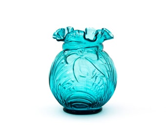 Aqua Fenton Ruffled Top Glass Vase with Bow