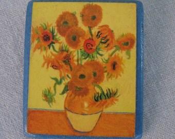 Wearable Art / Vintage Brooch / Van Gogh Sunflowers Brooch