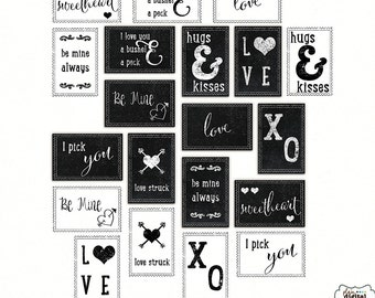 Chalkboard Stamps Love- Digital Stamps- 10 Stamps- ABR and PNG format