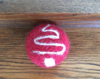 Wool Needle Felted Christmas Ornament Red Ball Tree