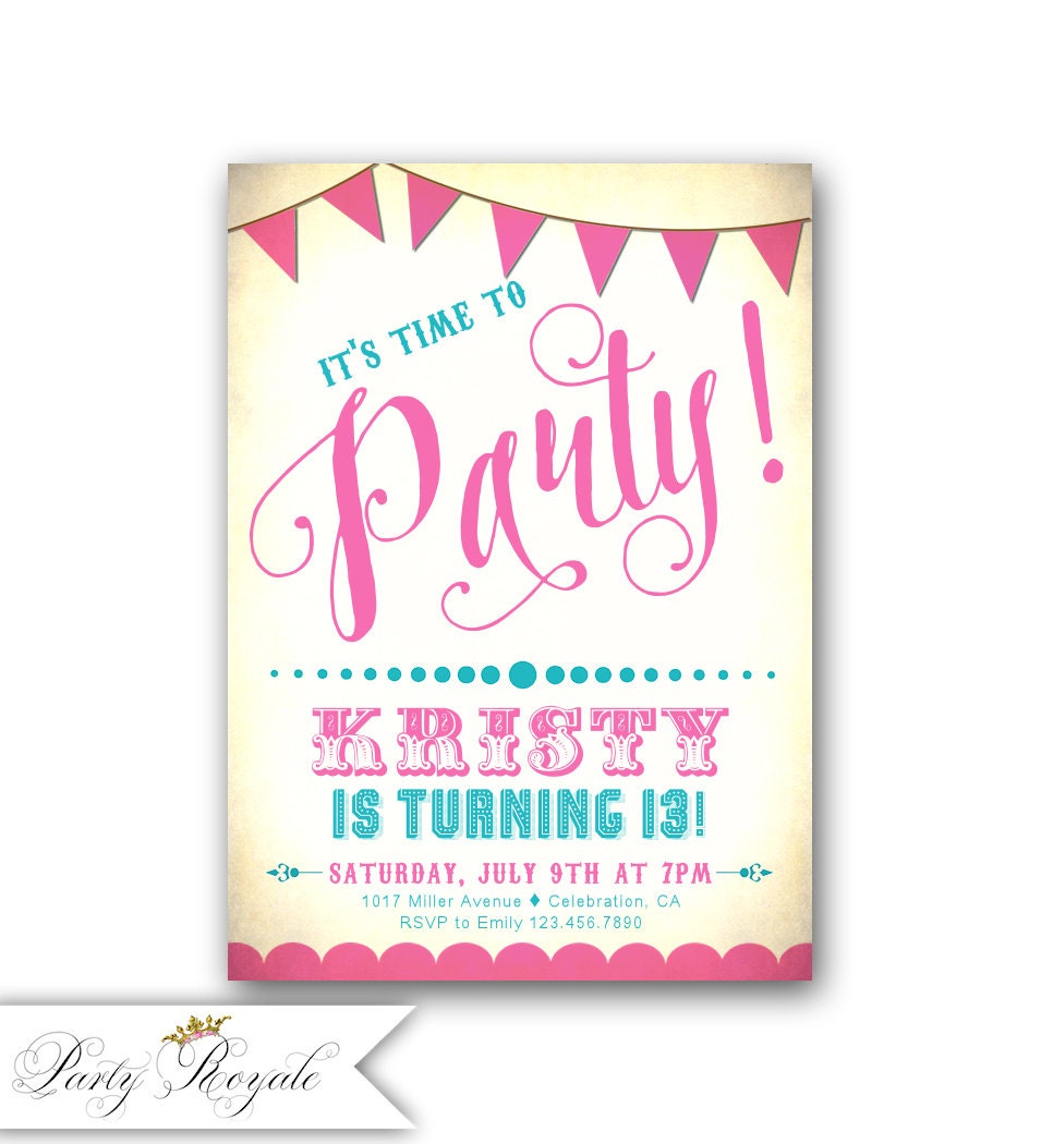 Teen Girl\'s Invitations Birthday Party Invitations for