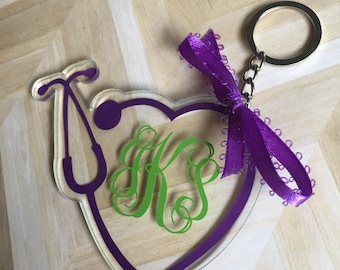 Monogrammed Stethoscope Keychain for Nurses, Doctors, Vet Techs And All Medical Staff