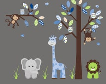 "Baby Boys Safari Wall Decals, Boys Nursery Jungle Wall Decals, Zoo Animal Wall Stickers, Tree and Animal Wall Decals - 74"" x 95"""