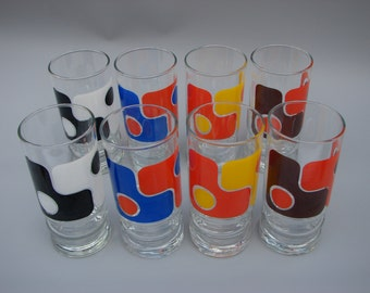 Seventies Op-art glasses  Vintage Panton era drinking glasses