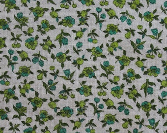 Multiples Avail of 1940's Full Feed Sack Vintage Fabric / Lime & Kelly Green Small Flowers on White Background