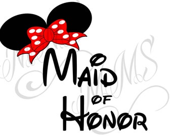 Maid of Honor Bride Groom Wedding Mickey Mouse Head Disney Family Download Iron On Craft Digital Disney Cruise Line Magnet Shirts