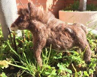 needle felted donkey, felted farm animal, felted prairie animal, Spanish donkey, wool donkey, felted animal, wool animal