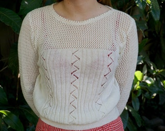 Vintage 1980s Knit Sweater / Winter White Sweater