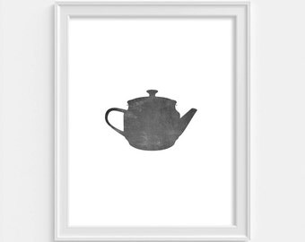 Tea Time, Kitchen Wall Decor, Teapot Print, Kitchen Wall Art, Tea Wall Art, Kitchen Print, Scandinavian Style, Home Decor, Teapot Poster