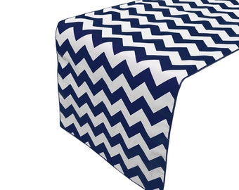 Zen Creative Designs Premium Cotton Table Top Runner Zig-Zag Chevron Navy