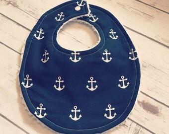 Sailor Baby Bib, Handmade, Baby Shower Gift, Baby Boy, Navy