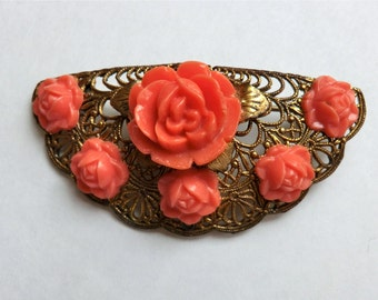 Vintage Brooch Pin Celluloid Roses Coral Color Brass Filigree  ca 1940