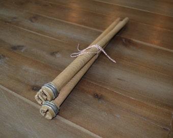 "15"" Vintage Wooden Textile Spools/Spindles (Set of 3)"