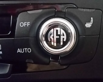 Extra Small Monogram Decal Set - Radio Dial Monogram | Car Knob Monogram | Small Decal | Tiny Monogram | Chrome Decal