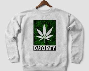 DISOBEY - WEED Cannabis Marijuana leaf design Grey White Blend Crewneck Sweatshirt